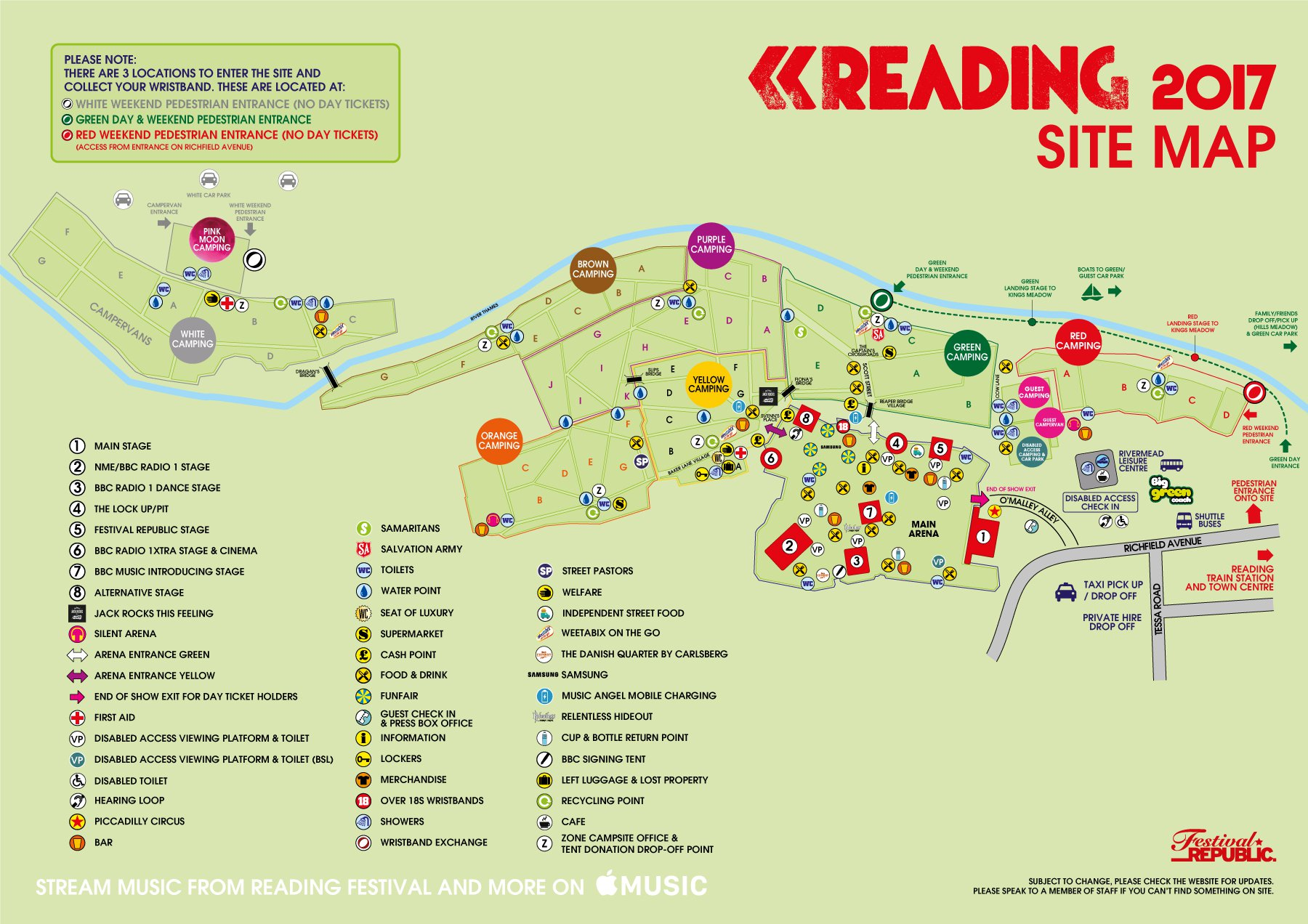 reading festival map of campsite 2012