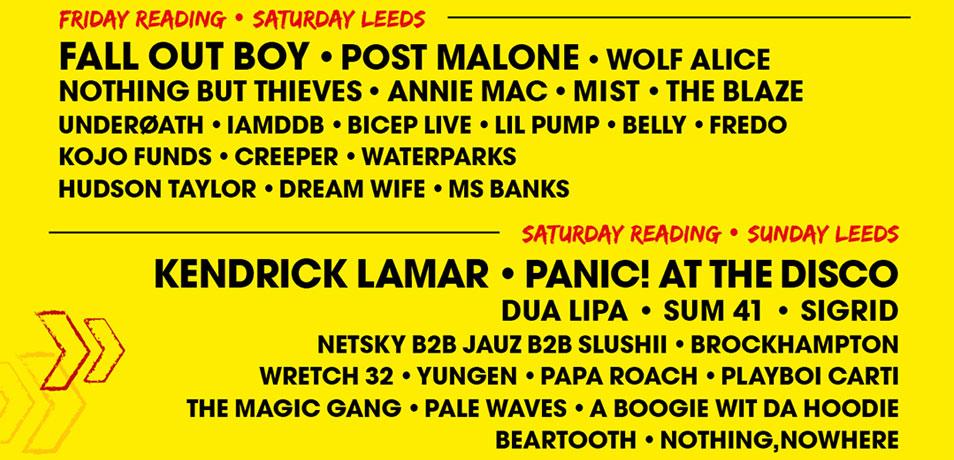 Kendrick Lamar, Fall Out Boy et Kings of Leon seront les têtes d'affiche de Reading & Leeds 2018